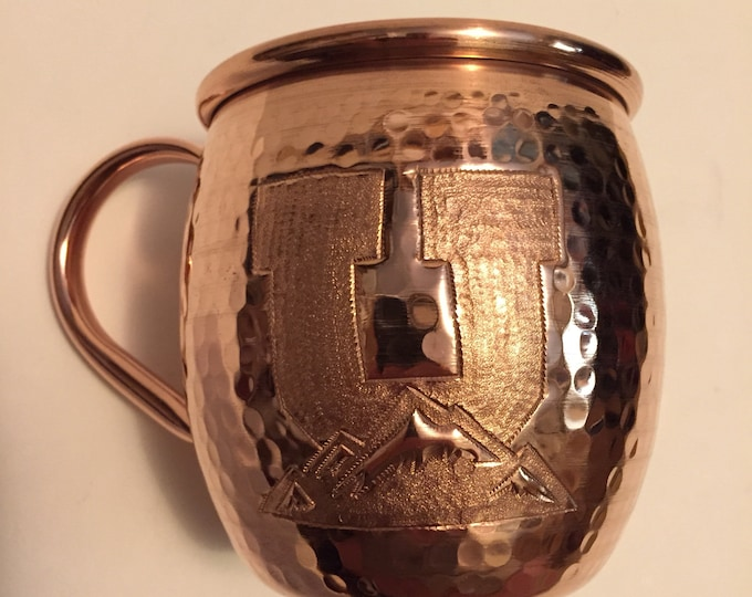 16oz Moscow Mule Hammered Copper Barrel Mug with U and mountains engraving