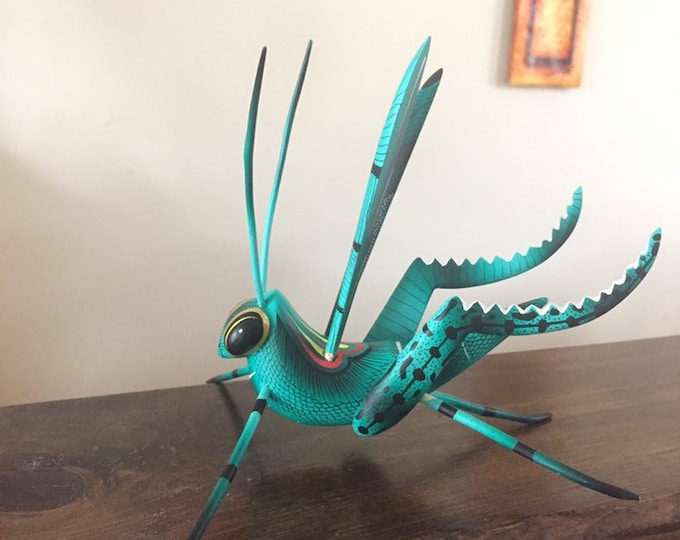 Alebrije Green Grasshopper Handcrafted Wood Carving by Zeny Fuentes & Reyna Piña from Oaxaca, Mexico.