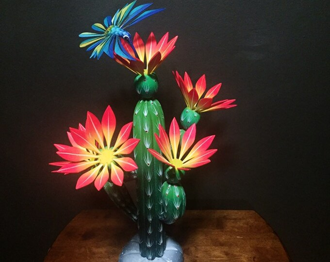 Handcrafted Alebrije Orange Flowering Cactus with Hummingbird Woodcarving from Oaxaca, Mexico
