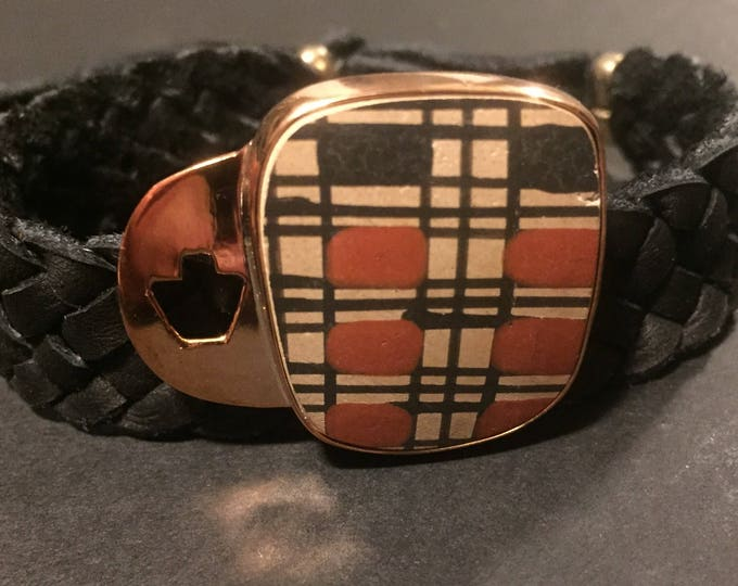 One of a Kind Mata Ortiz Leather Bracelet - Orange Black and Tan pottery shard set in Copper with Black leather band