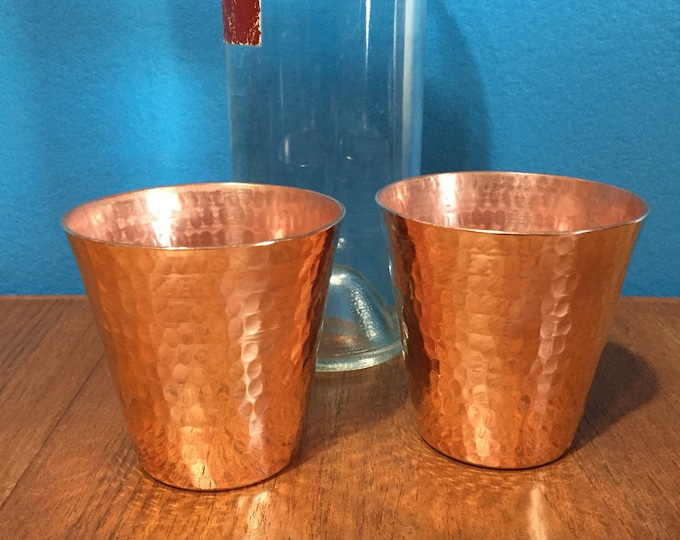 2-pack of handcrafted heavy gauge hammered copper 8oz water cup drinking glass