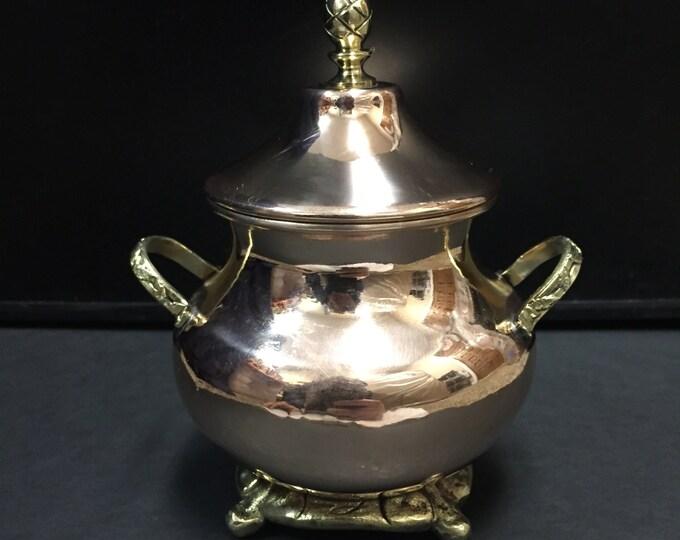 Decorative Copper Jar for Sugar, Coffee, or Tea w/ Brass Handles