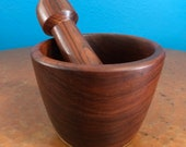 Hand carved wood mortar and pestle made with Guamuchil wood from Mexico