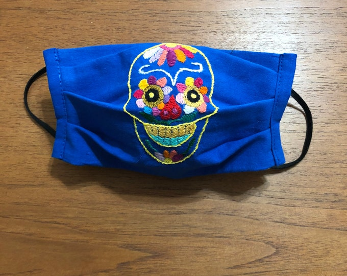 Handmade Muslin Cotton Face Mask with Otomi Embroidery with Calavera Sugar Skull Design - Blue