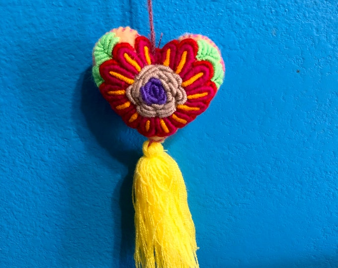 Hand Sewn Wool Felt Hanging Heart Ornament with Cotton Embroidery
