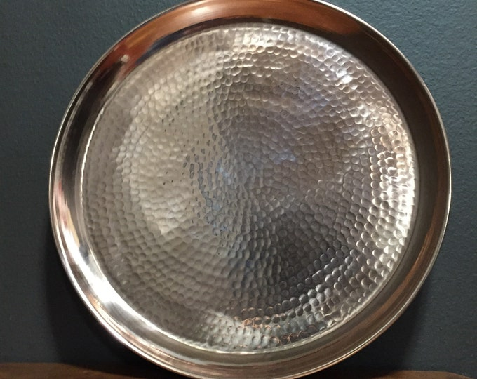 "Pure Hammered Copper Raised Edge Serving Tray - 14 1/2"" diameter"