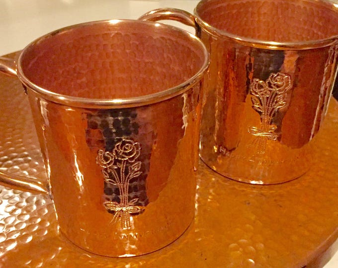 2-pack of 16oz Moscow Mule Copper Mugs, hammered w/ Happy Anniversary & flower engraving