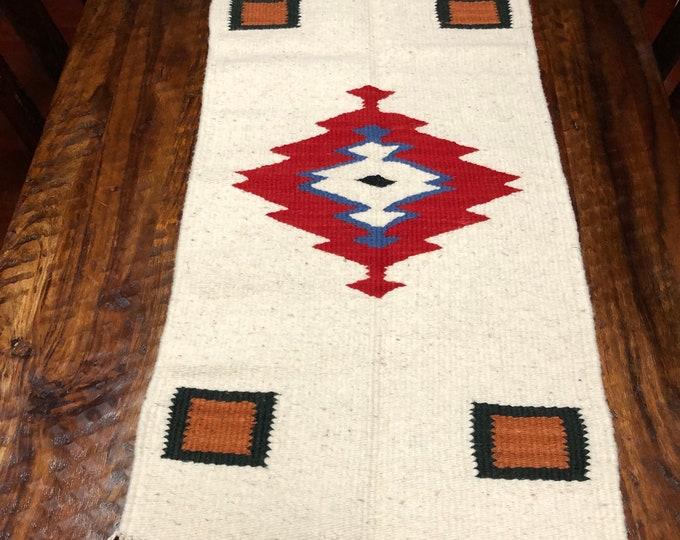 """Purhépecha hand woven wool table centerpiece / wall hanging (39"""" x 20"""")"""