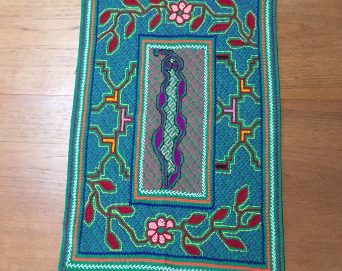 "Peruvian hand embroidered Shipibo table topper centerpiece (approx. 22"" x 14"")"