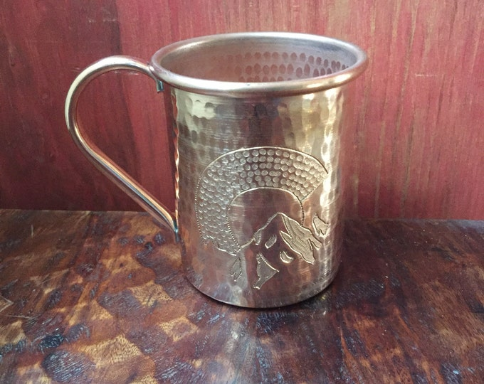 "16oz Moscow Mule Hammered Copper Mug w/ Colorado ""C"" with mountains engraving"