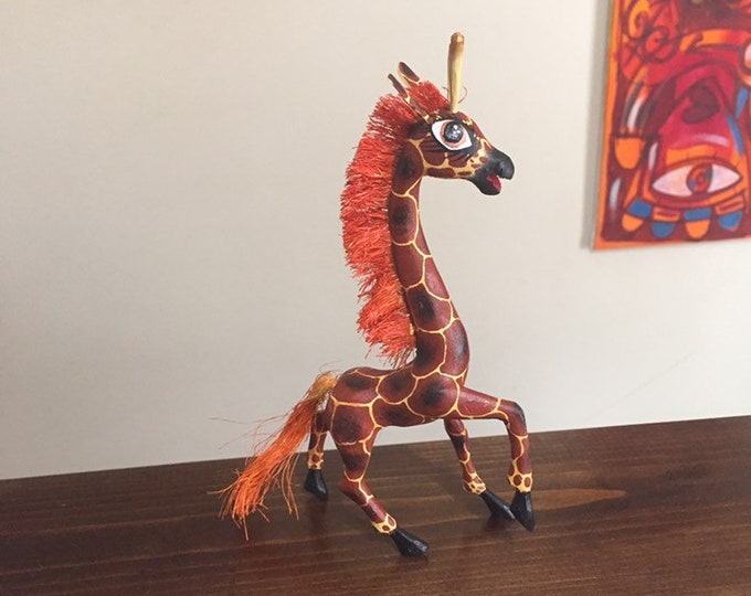 Handcrafted Alebrije Giraffe Woodcarving from Oaxaca, Mexico