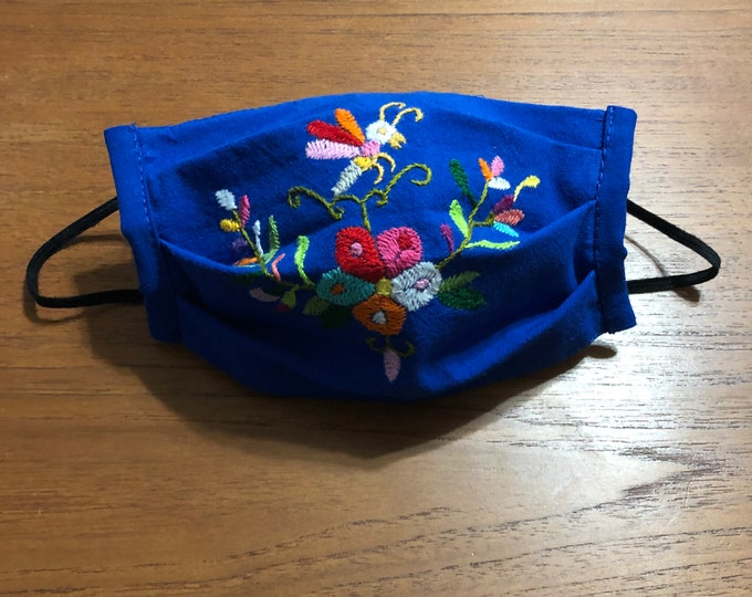 Handmade Muslin Cotton Face Mask with Otomi Embroidery Flowers and Bee Design - Blue