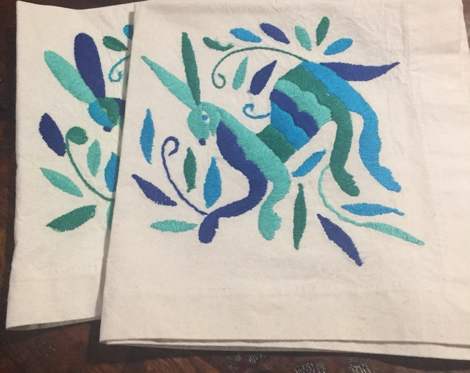 "Set of 2 Otomi hand embroidered 19"" x 19"" muslin napkins with multi color blue rabbits"