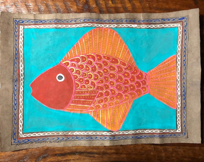 "Fish Painting on Amate Bark Paper (15.5"" x 23"")"