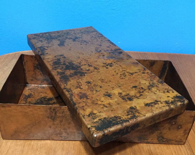 """Pure Hammered Copper Valet Box - 12"""" x 6"""" x 3"""""""