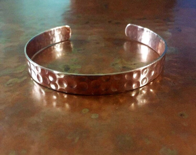 Thin Hammered Copper Cuff Bracelet