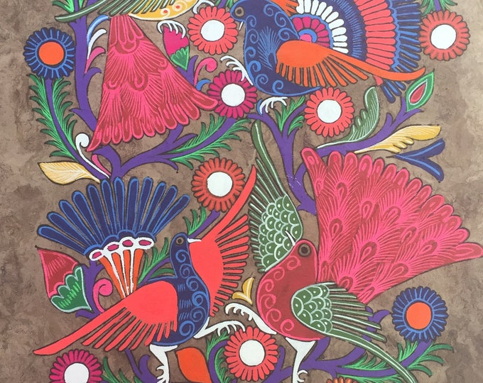Colorful Birds Painting on Amate Paper