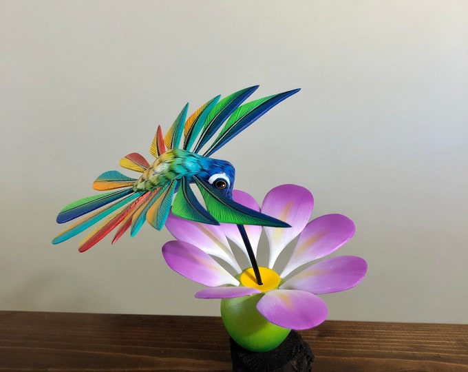 Handcrafted Alebrije Flowering Cactus with Hummingbird Woodcarving from Oaxaca, Mexico