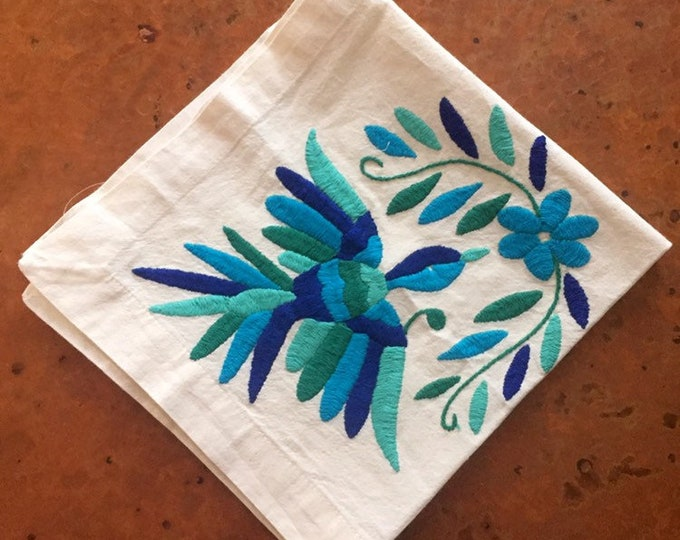 """Otomi hand embroidered 19"""" x 19"""" muslin napkin with blue multicolored bird"""