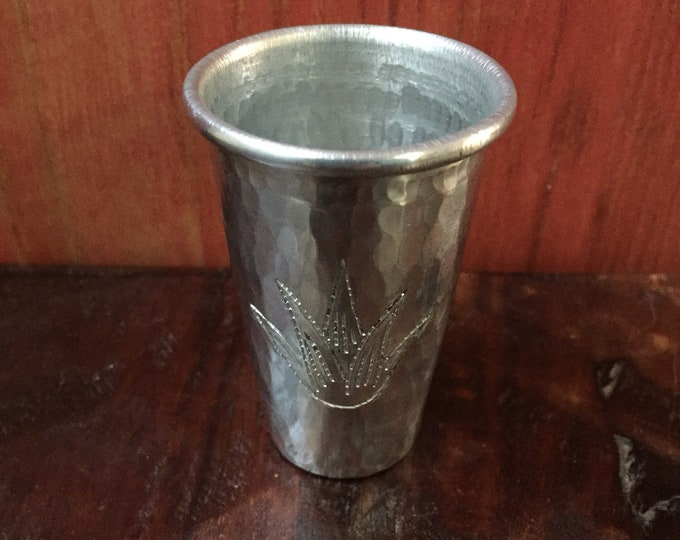 Handcrafted 2oz hammered aluminum shot glass with Agave plant engraving