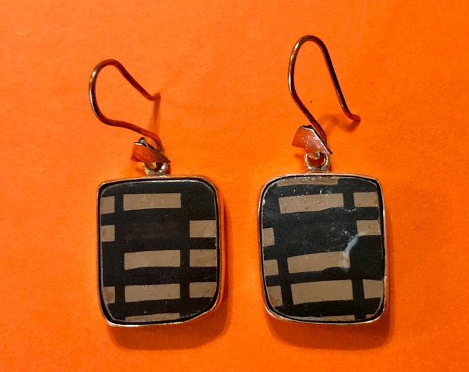 One of a Kind Mata Ortiz Earrings - ceramic pottery shards set in 100% pure copper