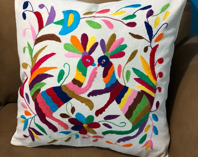 """Otomi hand embroidered 17"""" x 16"""" pillow case with animals and flower design"""