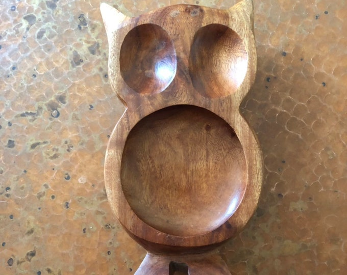 Hand carved wood owl serving tray made with Guamuchil wood from Mexico