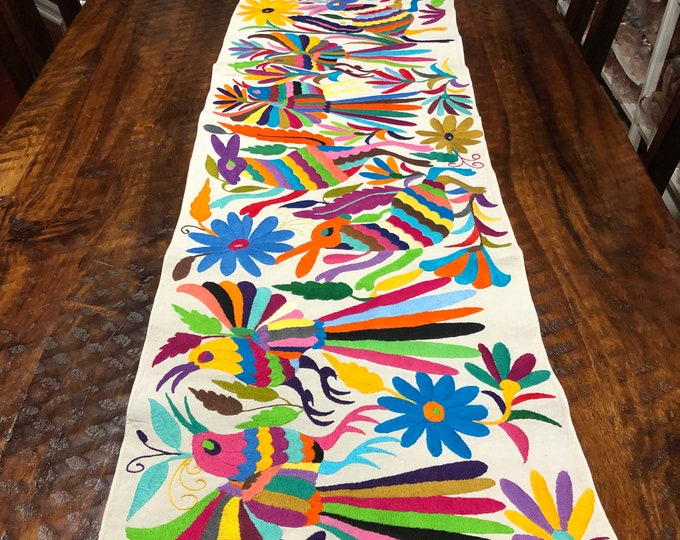 "Otomi Hand Embroidered Table Runner /Bed Scarf /  Frame-able Art with Multi-color Embroidery (approx. 72"" x 16"")"