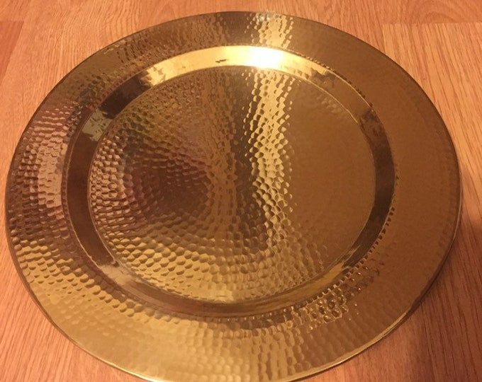 "Hammered Brass Charger Serving Plate - 12"" diameter"