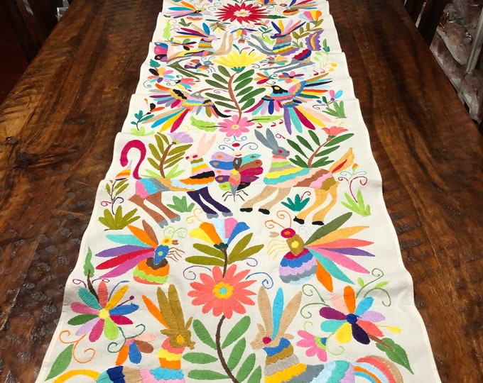 "Otomi Hand Embroidered Table Runner / Bed Scarf /  Frame-able Art with Multi-color Embroidery (approx. 76"" x 17.5"")"