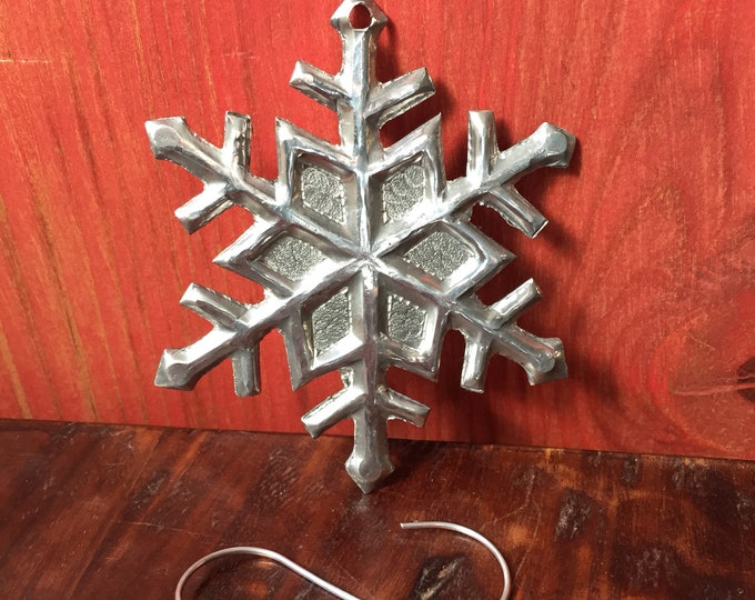 Handcrafted Hammered  Aluminum Snowflake Christmas Tree Ornament
