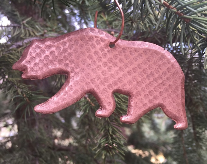 Handcrafted Pure Hammered Copper Bear Christmas Tree Ornament