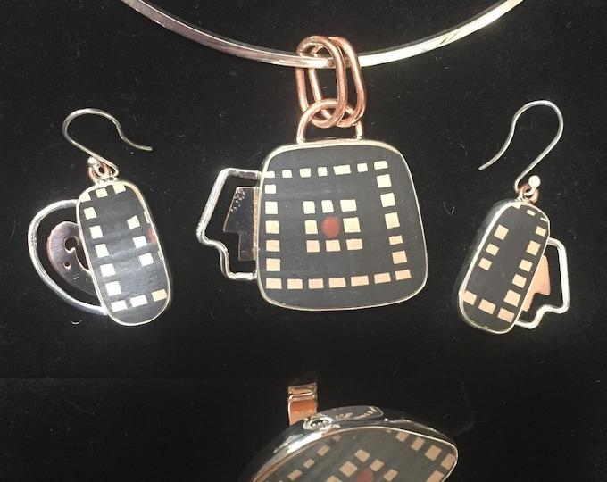 One of a Kind Mata Ortiz Three Piece Jewelry Set -Silver and Copper