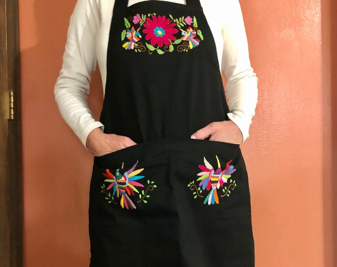 Hand Embroidered Otomí Adult Bib Apron from Hidalgo, Mexico - Black