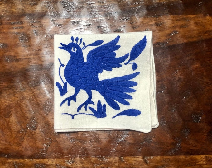 "Otomi hand embroidered 10"" x 10"" muslin napkin with blue bird"
