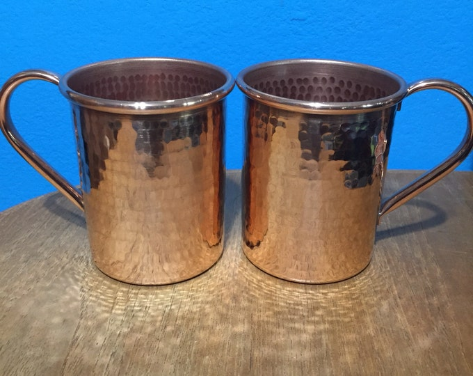 2-pack of 16oz Moscow Mule Copper Mugs, hammered