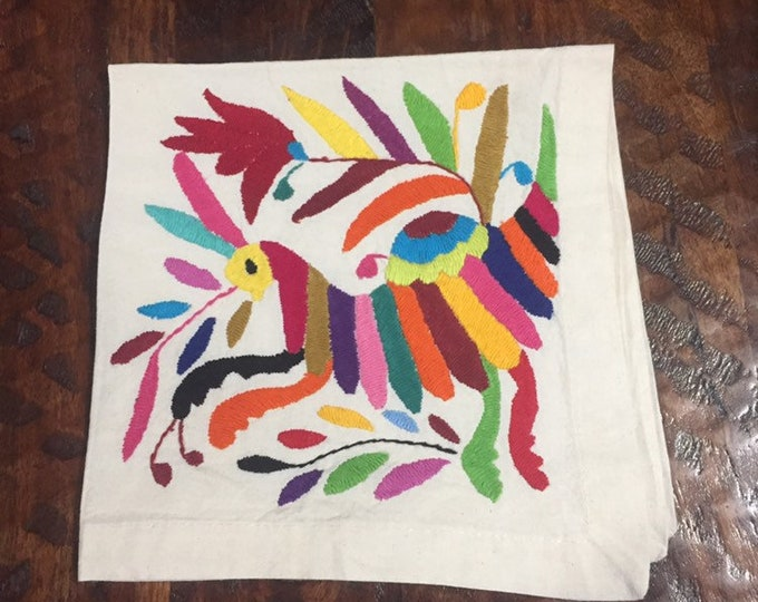 "Otomi hand embroidered 19"" x 19"" muslin napkin / frame-able art - with spirit animal"