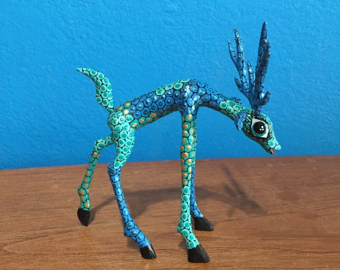 Alebrije Blue Deer Wood Carving by Roberto and Esperanza Martinez