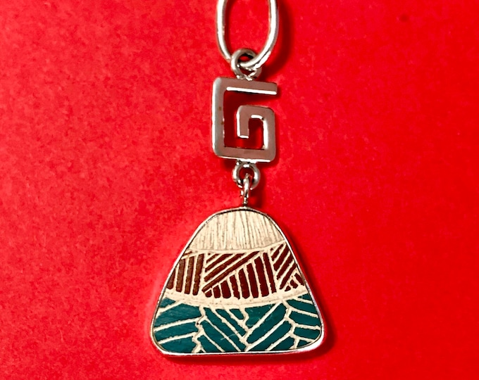 One of a Kind Mata Ortiz Sterling Silver Pendant - inique indigenous ceramic pottery shard set in a .950 pure silver bezel