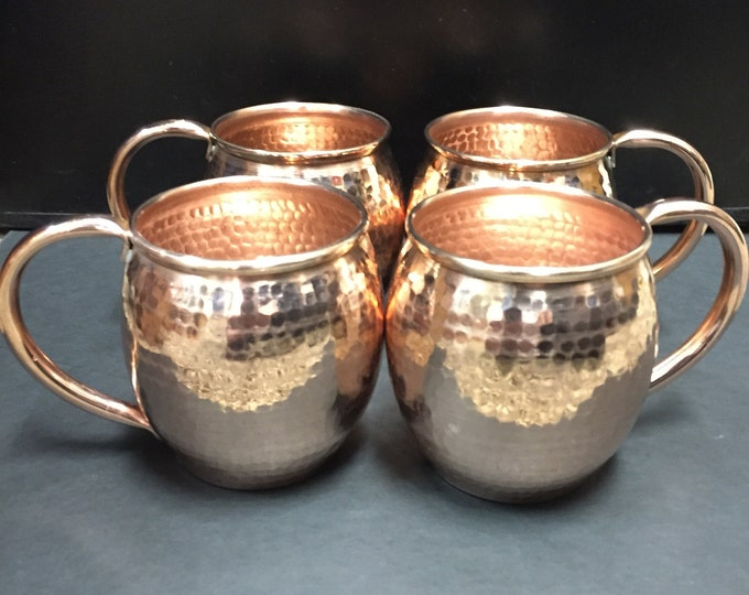 4 pack of 13oz Moscow Mule Hammered Copper Barrel Mug