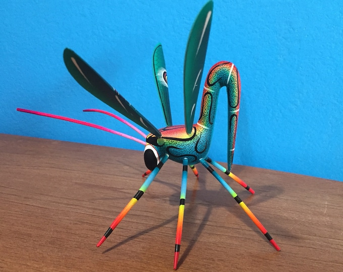Hand Carved Wood Alebrije Dragonfly from Zeny and Reyna Fuentes of Oaxaca, Mexico