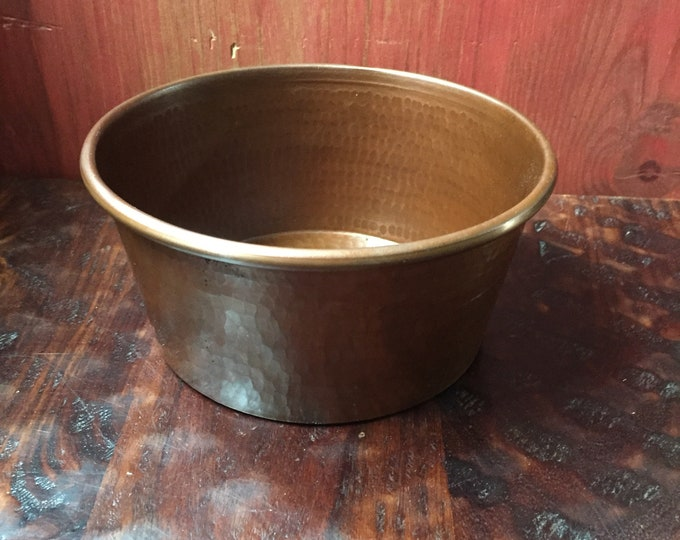 Medium Pure Hammered Copper Pet Bowl with Brown Patina