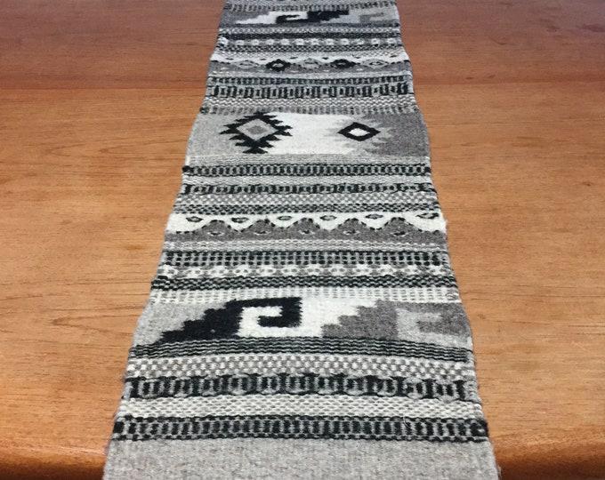"""Zapotec hand woven merino wool table runner 40 1/2"""" x 9 1/2"""""""
