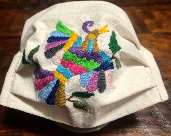 Handmade Muslin Cotton Face Mask with Otomi Embroidery Bird Design - Natural