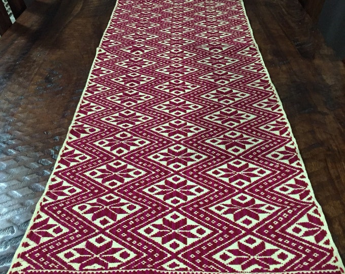 Hand Embroidered Table Runner (approx. 1.5'x5') - fuchsia colored geometric design