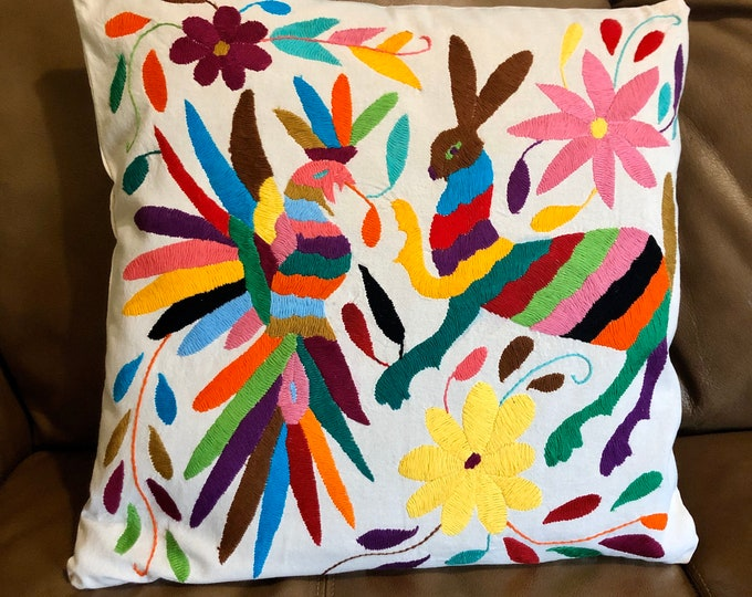 "Otomi hand embroidered 17"" x 16"" pillow case with animals and flower design"