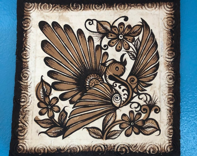 Handmade Amate Paper Wall Art with Bird and Flowers from Mexico
