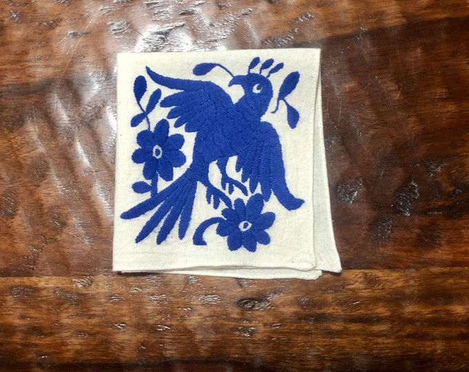 "Otomi hand embroidered 10"" x 10"" muslin napkin with blue bird"
