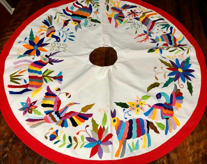 Hand embroidered Otomi Christmas Tree Skirt from Hidalgo, Mexico
