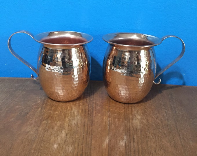 2-pack of 18oz Moscow Mule Hammered Copper Barrel Mugs with flared rim